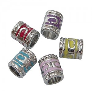 Pandahall 100PCS Mixed Color Tube Alloy European Beads with Enamel, about 7mm wide, 8.5mm long