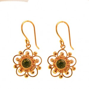 22 Carat Gold Vermeil Wire Work Earrings With Green Peridot Crystals