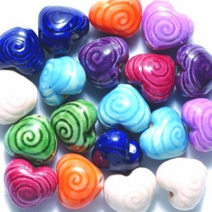 Peruvian Hand Crafted Ceramic Heart Beads | Shop jewelry making and beading supplies, tools & findings for DIY jewelry making and crafts. #jewelrymaking #diyjewelry #jewelrycrafts #jewelrysupplies #beading #affiliate #ad
