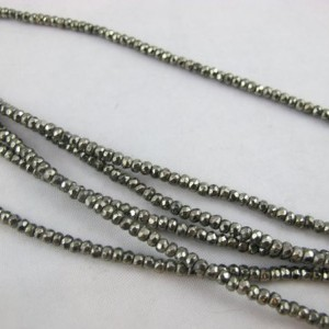 "Pyrite Natural Gemstone Beads Faceted Rondelle Silver Color 2x3mm 180pcs 16"" Finding Charms Necklace Bracelet"