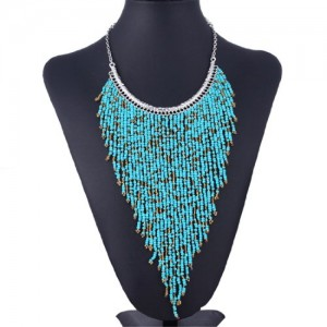 Qiyun Y Small Beaded Bib Fringe Tassel Pyramid Triangle Collar Choker Bib Necklace | Shop jewelry making and beading supplies, tools & findings for DIY jewelry making and crafts. #jewelrymaking #diyjewelry #jewelrycrafts #jewelrysupplies #beading #affiliate #ad