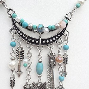 Romantic Time Falcate Colorful Beads Sword Shield Tassel Indian Pendant Necklace   Shop jewelry making and beading supplies, tools & findings for DIY jewelry making and crafts. #jewelrymaking #diyjewelry #jewelrycrafts #jewelrysupplies #beading #affiliate #ad