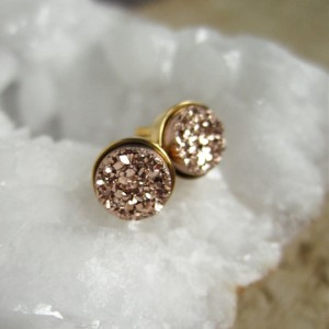 Rose Gold Druzy Earrings, Rose Gold Druzy Studs, Tiny Stud Earrings, Druzy Quartz Earrings, Post Back Earrings,  Gold Vermeil Bezel Set