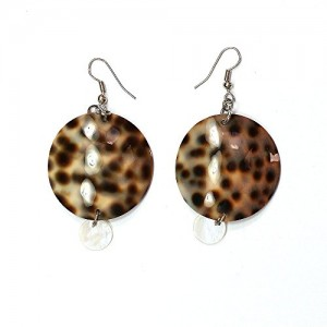 Round Cowry Tiger shell earrings with Mother of Pearl beads | Shop jewelry making and beading supplies, tools & findings for DIY jewelry making and crafts. #jewelrymaking #diyjewelry #jewelrycrafts #jewelrysupplies #beading #affiliate #ad