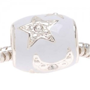 Silver Plated White Enamel With Stars And Moons Bead – Fits Pandora (1)