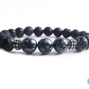 Men's Bracelet, 10mm Black Lava Stone And Snowflake Obsidian Sterling Silver Beads Bracelet