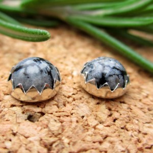 Snowflake Obsidian Cabochon Studs, 14k Gold Stud Earrings or Sterling Silver Obsidian Studs – 6mm Low Profile Serrated or Crown Earrings | Natural genuine Snowflake Obsidian earrings. Buy crystal jewelry, handmade handcrafted artisan jewelry for women.  Unique handmade gift ideas. #jewelry #beadedearrings #beadedjewelry #gift #shopping #handmadejewelry #fashion #style #product #earrings #affiliate #ad