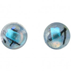 Sterling Silver Dichroic Glass Light Blue Stud Earrings | Shop jewelry making and beading supplies, tools & findings for DIY jewelry making and crafts. #jewelrymaking #diyjewelry #jewelrycrafts #jewelrysupplies #beading #affiliate #ad