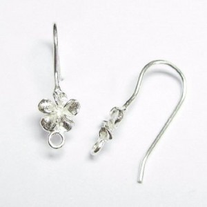 Shop Ear Wires & Posts for Making Earrings! Sterling Silver Flower Ear Wire French Hook Earwires | Shop jewelry making and beading supplies, tools & findings for DIY jewelry making and crafts. #jewelrymaking #diyjewelry #jewelrycrafts #jewelrysupplies #beading #affiliate #ad