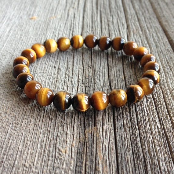 Men's Beaded Bracelet - 8mm Or 10mm Tiger Eye Stretch Bracelet, Gemstone Beaded Bracelet, Stretch Bracelet, M029/m194