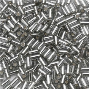 Toho Bugle Tube Beads Size #1 / 2x3mm Silver Lined Gray 8 Grams