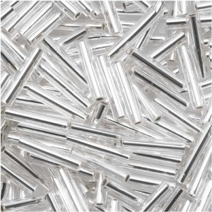 Toho Bugle Tube Beads Size #3 2x9mm Silver Lined Crystal 10 Grams | Shop jewelry making and beading supplies for DIY jewelry making and crafts. #jewelrymaking #diyjewelry #jewelrycrafts #jewelrysupplies #beading #affiliate