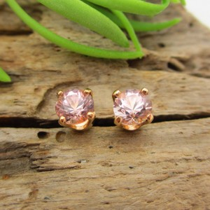 Pink Tourmaline Earrings In 14k Yellow Gold With Screw Backs, 4mm