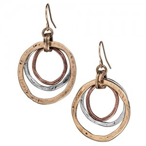Tricolor Sunrise Earrings, Triple Circles in Copper, Brass and Silver Tone | Shop jewelry making and beading supplies, tools & findings for DIY jewelry making and crafts. #jewelrymaking #diyjewelry #jewelrycrafts #jewelrysupplies #beading #affiliate #ad