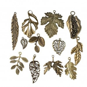 Vintage Bronze Mixed Tree Leaf Theme Tone Alloy Charms Finding Fit DIY Jewelry Making (pack of 24)