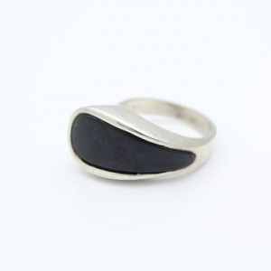 Vintage Modernist Ring Inlaid With Blue Agate In Sterling Silver Size 6. [8599]