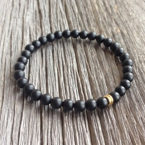 Shop Onyx Bracelets! Men's Beaded Bracelet – 6mm Matte Onyx Bracelet with Brass Accent Bead, Gemstone Beaded Bracelet, Stretch Bracelet, M080 | Natural genuine Onyx bracelets. Buy crystal jewelry, handmade handcrafted artisan jewelry for women.  Unique handmade gift ideas. #jewelry #beadedbracelets #beadedjewelry #gift #shopping #handmadejewelry #fashion #style #product #bracelets #affiliate #ad