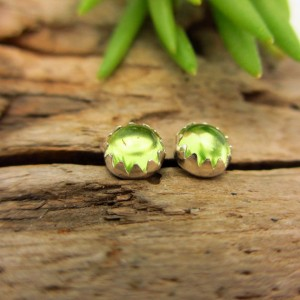 Arizona Peridot Cabochon Studs; 14k Gold or Sterling Silver American Gemstone Stud Earrings – 4mm Low Profile Serrated Earrings | Natural genuine Gemstone jewelry. Buy crystal jewelry, handmade handcrafted artisan jewelry for women.  Unique handmade gift ideas. #jewelry #beadedjewelry #beadedjewelry #gift #shopping #handmadejewelry #fashion #style #product #jewelry #affiliate #ad