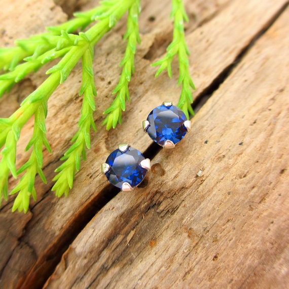 Blue Sapphire Studs - Lab Grown Sapphire Stud Earrings In Real 14k Gold, Sterling Silver, Or Platinum, 3mm, 4mm, 6mm, 8mm