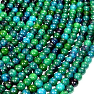 Chrysocolla , 6mm(6.5mm) Round Beads, 15.5 Inch, Full strand, Approx 66 beads, Hole 1 mm, A quality, Reconstituted (196054007) | Natural genuine round Chrysocolla beads for beading and jewelry making.  #jewelry #beads #beadedjewelry #diyjewelry #jewelrymaking #beadstore #beading #affiliate #ad
