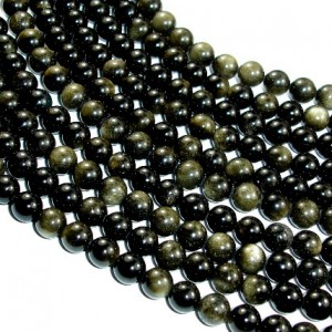 Golden Obsidian Beads, Round, 8mm (8.3mm), 15 Inch, Full Strand, Approx 47 Beads, Hole 1 Mm, A Quality (239054003)