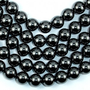 Hematite, 12mm Round Beads, 16 Inch, Full Strand, Approx 35 Beads, Hole 1 Mm (269054005)