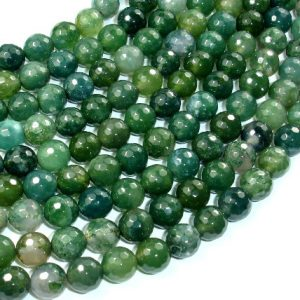 Shop Moss Agate Beads! Moss Agate Beads, 8mm (8.3 mm) Faceted Round Beads, 15 Inch, Full strand, Approx 46 beads, Hole 1 mm, A quality (323025005) | Natural genuine beads Agate beads for beading and jewelry making.  #jewelry #beads #beadedjewelry #diyjewelry #jewelrymaking #beadstore #beading #affiliate #ad