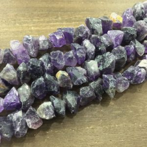 "Raw Amethyst Nuggets Chips beads Rough Purple Amethyst Quartz Crystal Nugget Jewelry making supplies 14-16mm 15.5"" full strand 