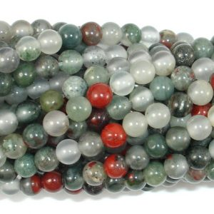 African Bloodstone, 4 Mm(4.5 Mm) Round Beads, 15.5 Inch, Full Strand, Approx 95 Beads, Hole 0.8 Mm (124054004)