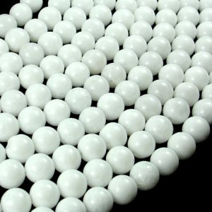 White Jade Beads, Round, 6 Mm(6.5 Mm), 15 Inch, Full Strand, Approx 60 Beads, Hole 1 Mm (436054019)