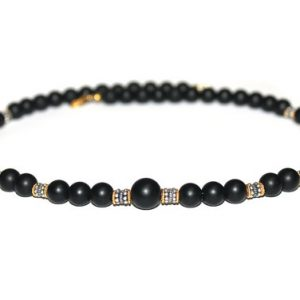 Shop Onyx Necklaces! Men's Necklace, For Men, Onyx, Sterling Silver, and Gold Vermeil Necklace, Man's Necklace, Onyx necklace, Bead Necklace Man, Gift for Man | Natural genuine gemstone jewelry in modern, chic, boho, elegant styles. Buy crystal handmade handcrafted artisan art jewelry & accessories. #jewelry #beaded #beadedjewelry #product #gifts #shopping #style #fashion #product