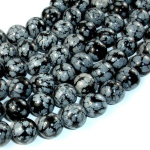 Shop Snowflake Obsidian Round Beads! Snowflake Obsidian Beads, 12mm Round Beads, 16 Inch, Full strand, Approx 33 beads, Hole 1 mm, AA (410054003) | Natural genuine round Snowflake Obsidian beads for beading and jewelry making.  #jewelry #beads #beadedjewelry #diyjewelry #jewelrymaking #beadstore #beading #affiliate #ad