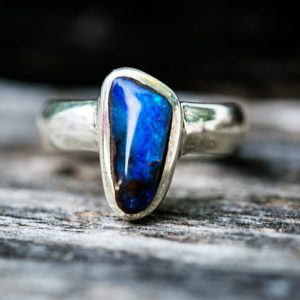 Boulder Opal Ring Size 7.75 – Natural Opal Ring – Opal And Sterling Silver Ring – Ring Size 7.75 – October Birthstone Ring – Boulder Opal