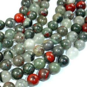 Shop Bloodstone Beads! African Bloodstone, 10mm (10.4 mm) Round Beads, 15.5 Inch, Full strand, Approx 38 beads, Hole 1 mm (124054003) | Natural genuine gemstone beads for making jewelry in various shapes & sizes. Buy crystal beads raw cut or polished for making handmade homemade handcrafted jewelry. #jewelry #beads #beadedjewelry #product #diy #diyjewelry #shopping #craft #product