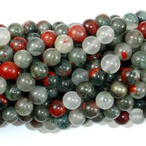 Shop Bloodstone Beads! African Bloodstone, 6mm (6.5 mm) Round Beads, 15 Inch, Full strand, Approx 60 beads, Hole 1 mm (124054001) | Natural genuine round Bloodstone beads for beading and jewelry making.  #jewelry #beads #beadedjewelry #diyjewelry #jewelrymaking #beadstore #beading #affiliate #ad