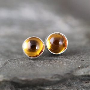 Golden Citrine Earrings – Bezel Set Stud Pierced Earring – Sterling Silver Earrings – Made In Canada – Yellow Gemstone – November Birthstone