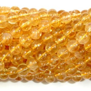 Genuine Citrine Beads, 6.5mm(6.7mm) Round Beads, 15.5 Inch, Full Strand, Approx 60 Beads, Hole 1mm (197054007) | Natural genuine round Citrine beads for beading and jewelry making.  #jewelry #beads #beadedjewelry #diyjewelry #jewelrymaking #beadstore #beading #affiliate #ad