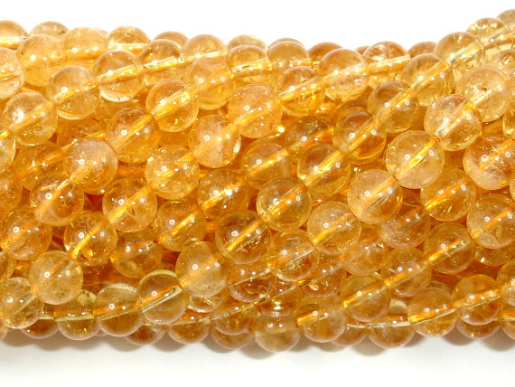 Genuine Citrine Beads, 6mm (6.5mm) Round Beads, 15.5 Inch, Full Strand, Approx 60-65 Beads, Hole 1mm (197054007)