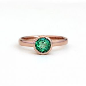 Natural Colombian Emerald Princess Ring – 14k Rose Gold, Yellow Gold, Palladium White Gold, 950 Palladium – Engagement Wedding Promise Ring