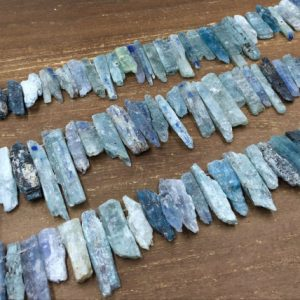 "Shop Kyanite Chip & Nugget Beads! Raw Kyanite Sticks Beads Rough Kyanite Shard Slice Nugget Beads Natural Kyante Gemstone Beads Kyanite Pendant Beads 15.5"" Full Strand 