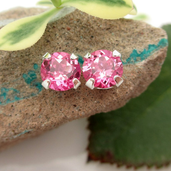 Mint Green Tourmaline Studs - Cool Green Tourmaline Stud Earrings In Real 14k Gold, Sterling Silver, Or Platinum, 3mm, 4mm