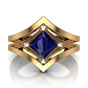 Engagement Ring, Blue Sapphire Princess Cut Unisex Art Deco Design