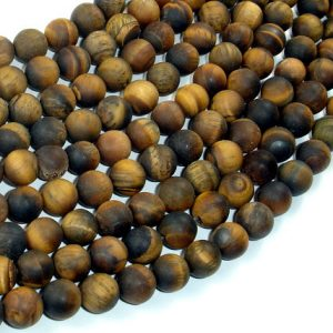 Shop Tiger Eye Round Beads! Matte Tiger Eye, 8mm (8.3mm) Round Beads , 15 Inch, Full strand, Approx 48 beads, Hole 1mm (426054029) | Natural genuine round Tiger Eye beads for beading and jewelry making.  #jewelry #beads #beadedjewelry #diyjewelry #jewelrymaking #beadstore #beading #affiliate