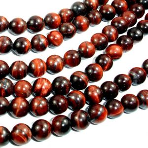 Shop Tiger Eye Round Beads! Red Tiger Eye Beads, Round, 6mm (6.5mm), 15 Inch, Full strand, Approx 62 beads, Hole 1mm (383054010) | Natural genuine round Tiger Eye beads for beading and jewelry making.  #jewelry #beads #beadedjewelry #diyjewelry #jewelrymaking #beadstore #beading #affiliate