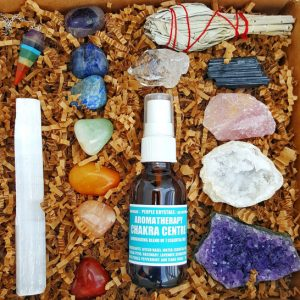16 Pcs Chakra Crystal Healing Kit! / Lot Of Chakra Tumbles, Amethyst Cluster, Raw Stones, Sage, Meditation Spray + More. Gift Set!