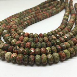 Shop Unakite Faceted Beads! 8x5mm Faceted Unakite Rondelle Beads, Rondelle Gemstone Beads, Wholesale Beads | Natural genuine faceted Unakite beads for beading and jewelry making.  #jewelry #beads #beadedjewelry #diyjewelry #jewelrymaking #beadstore #beading #affiliate