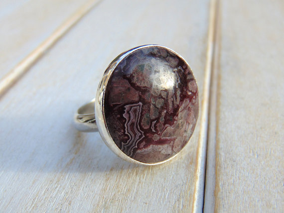 Crazy Lace Agate Ring, Sterling Silver Jewellery, Statement Ring, Us Size 8 1/4 - Uk Size Q