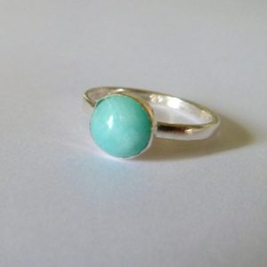 Amazonite Ring, Sterling Silver, Oxidised Silver Ring, Aqua Ring, Mint Ring