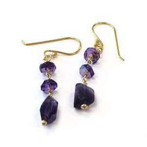 Shop Amethyst Earrings! Amethyst Earrings – Purple Gemstone Jewelry – Gold Filled Jewellery – February Birthstone – Funky | Natural genuine Amethyst earrings. Buy crystal jewelry, handmade handcrafted artisan jewelry for women.  Unique handmade gift ideas. #jewelry #beadedearrings #beadedjewelry #gift #shopping #handmadejewelry #fashion #style #product #earrings #affiliate #ad