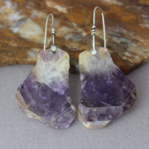 Shop Amethyst Earrings! Amethyst Slab Earrings, Big Amethyst Earrings, Big Stone Dangle Earrings, Rivet Sterling Silver, Unique Earrings, Purple Earrings, Rustic | Natural genuine Amethyst earrings. Buy crystal jewelry, handmade handcrafted artisan jewelry for women.  Unique handmade gift ideas. #jewelry #beadedearrings #beadedjewelry #gift #shopping #handmadejewelry #fashion #style #product #earrings #affiliate #ad